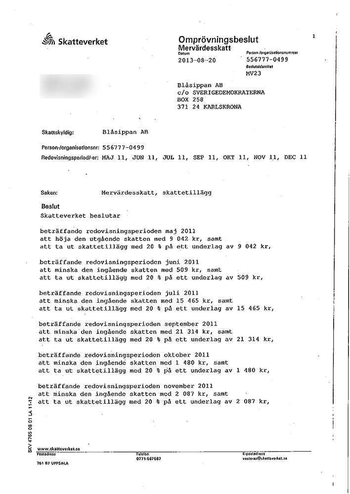 Skatteverkets beslut om skattetillägg för Blåsippan från augusti 2013.