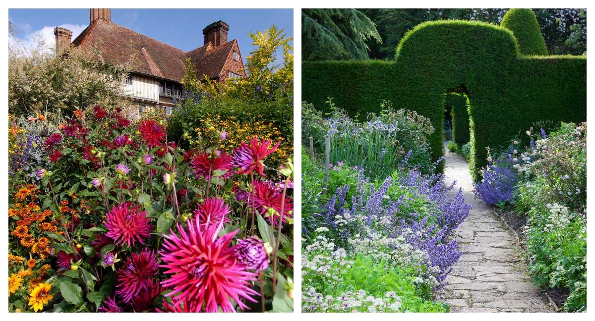 Trädgårdsmästaren Christopher Lloyds Great Dixter House. Till höger syns Hidcote Manor i Cotswold.