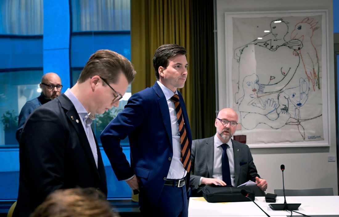 Östra Göinges kommunalråd Patric Åberg på Justitiedepartementet i Stockholm under tisdagens möte.