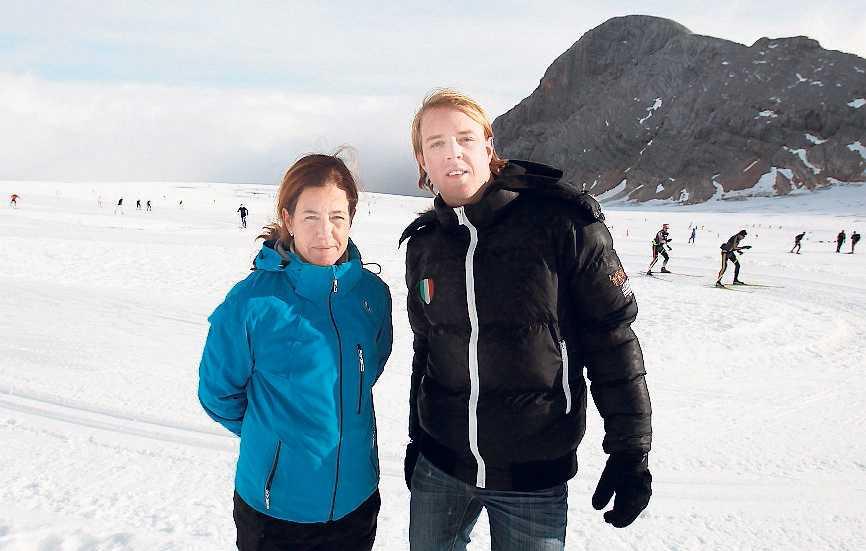 På plats i Ramsau Sportbladets Petra Thorén och Andreas Bardell.