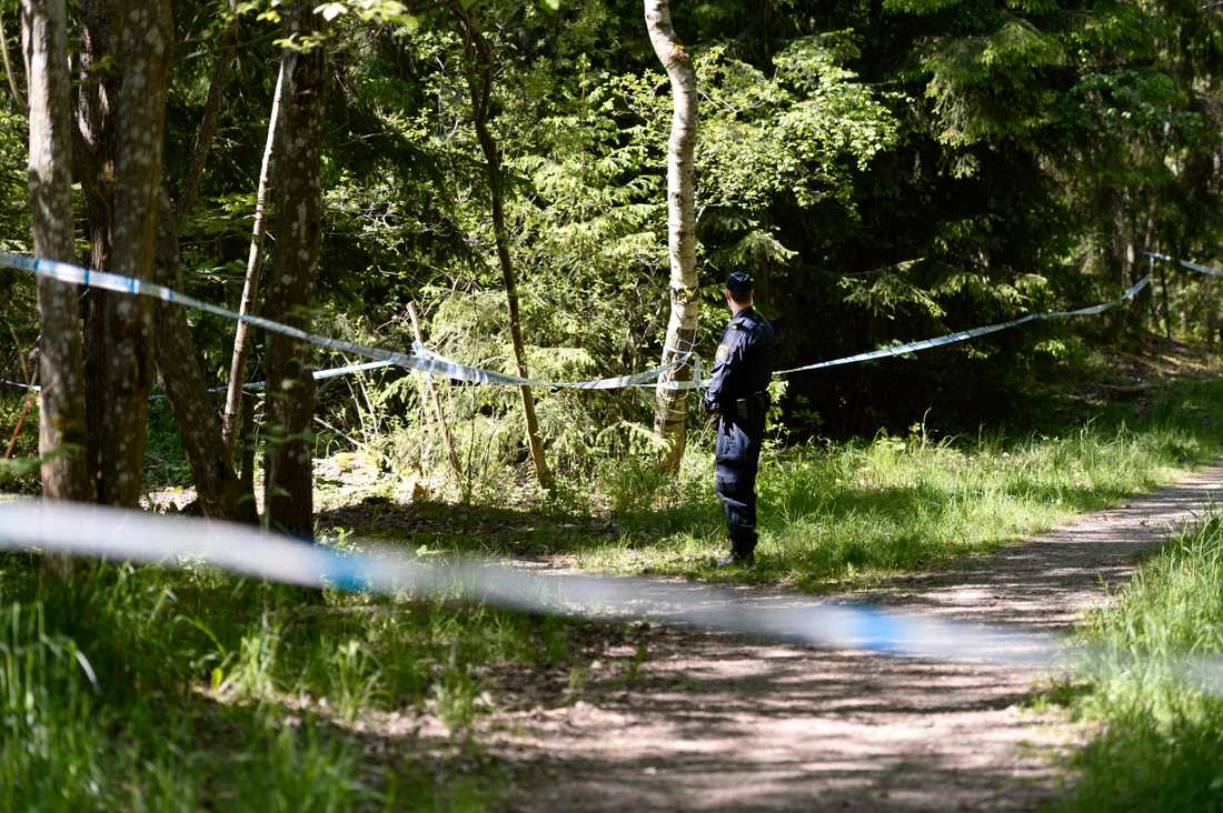 Polisavspärrningar i skogsområdet i Hökarängen där den unga kvinnan hittades död i slutet av maj 2016.