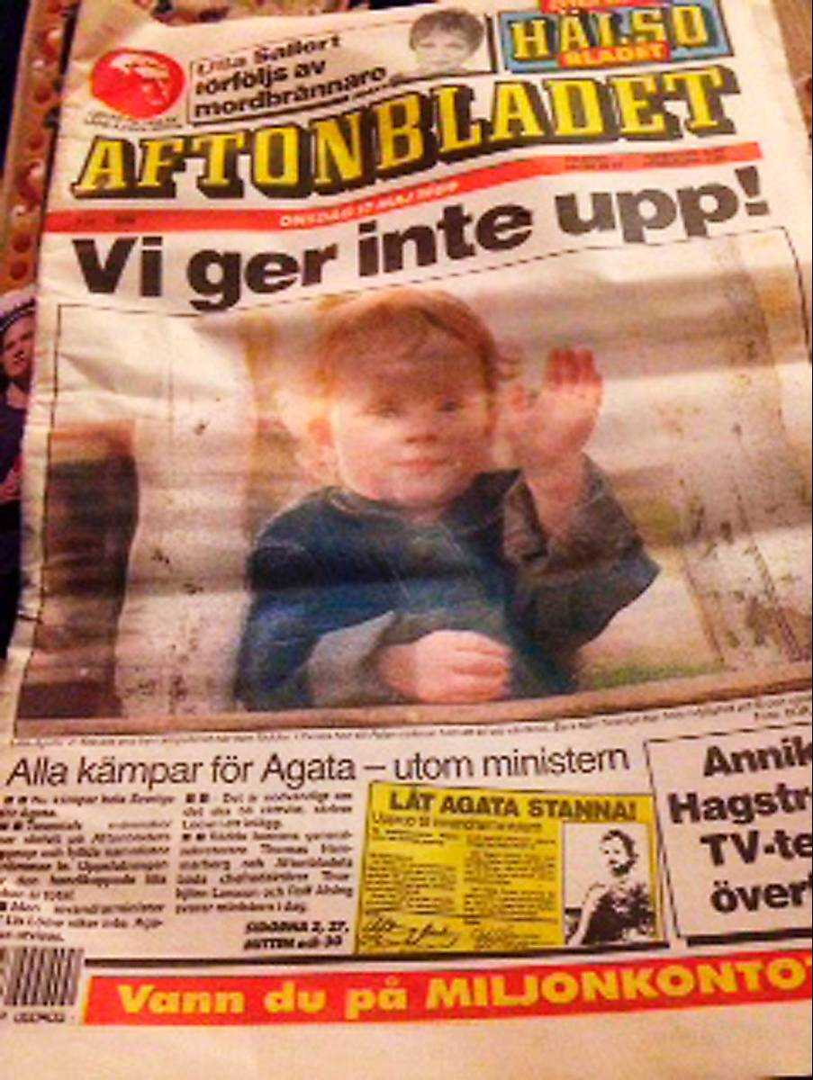 """SKULLE UTVISAS Med rubriken """"Vi ger inte upp!"""" kom Aftonbladet ut i butiken den 17 maj 1989. Då var Agata bara två år och skulle utvisas från Sverige."""