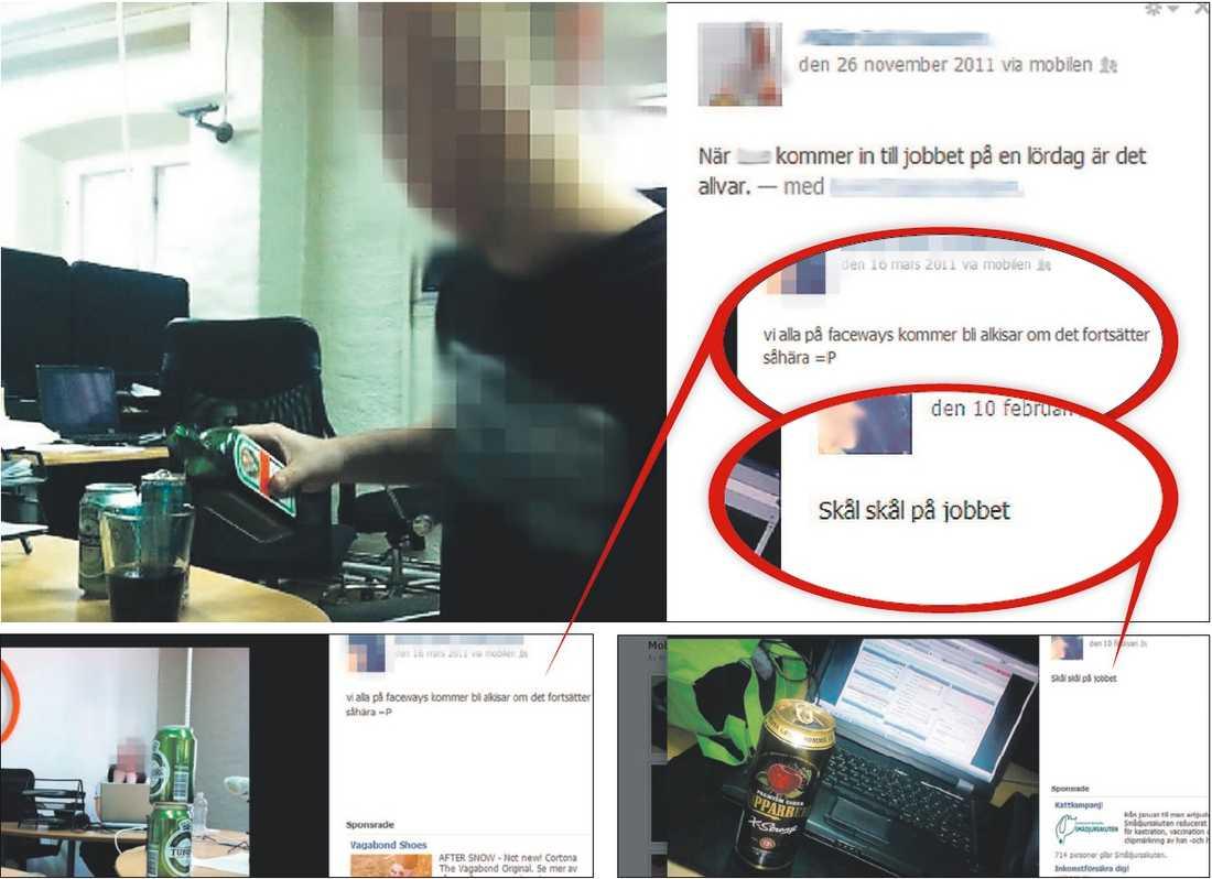 """""""Vi blir alkisar""""  Ungdomarna får öl vid lyckad telefonförsäljning – som de får dricka vid skrivbordet. Företaget Faceways säljer åt bland andra   Fortum och Göta Energi. Här är ungdomarnas egna bilder från Facebook."""