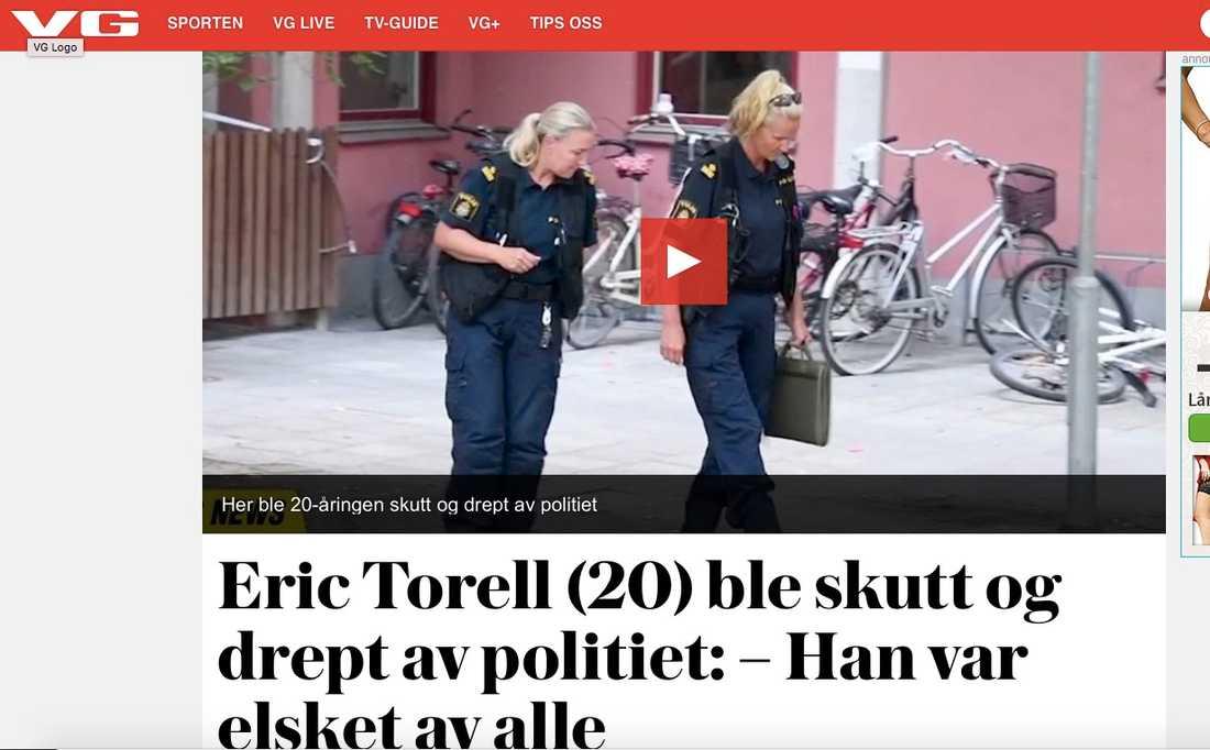 Norska Verldens gang rapportering om Eric Torells död.
