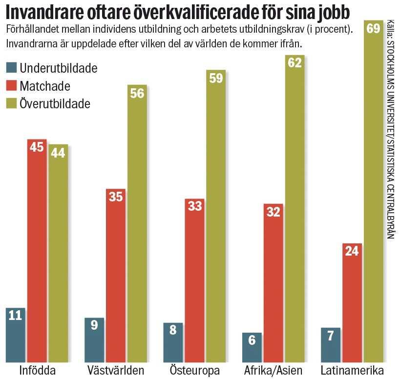 En ny undersökning visar att invandrare i Sverige är överkvalificerade för sina jobb i högre utsträckning än infödda svenskar. I snitt 60 procent mot 44 procent matchar inte nivån på sin utbildning.