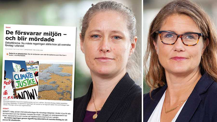 Vi anser att Sverige ska vara en tydlig röst i EU för en företagslag om mänskliga rättigheter och miljö, skriver Amanda Palmstierna och Janine Alm Ericson.