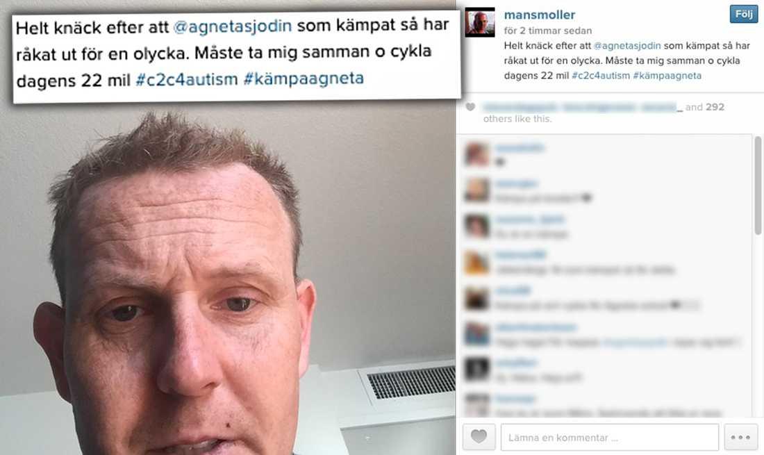 Måns Möller på Instagram efter olyckan