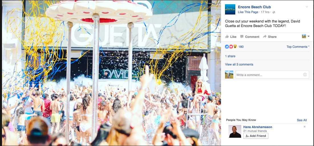 Så här såg det ut när Encore bjöd in till fest på sin Facebooksida.