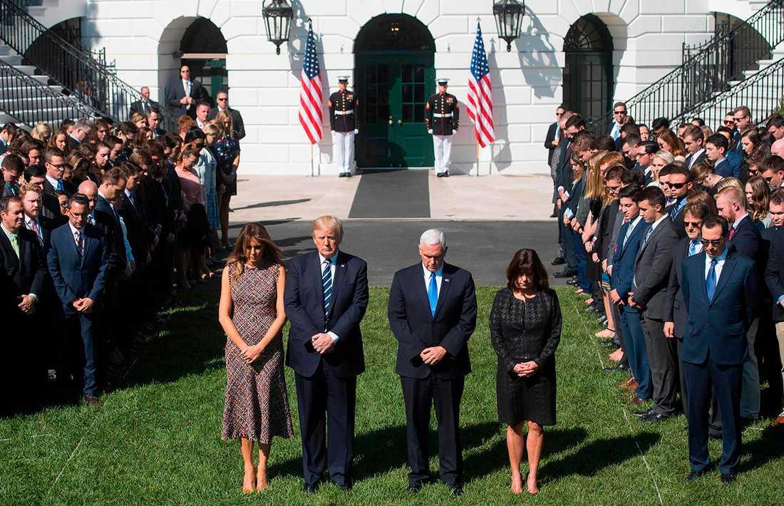 Trump tackade sin fru Melania, övriga familjen, och vicepresident Mike Pence.