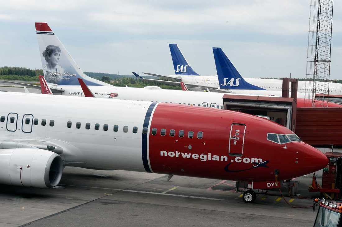 Flygplan stod stilla på Arlanda under torsdagen.