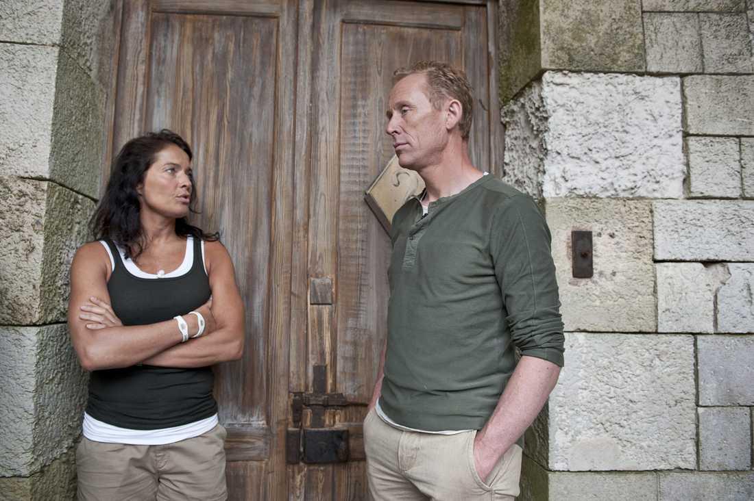 Agneta Sjödin och Gunde Svan på Fort Boyard.