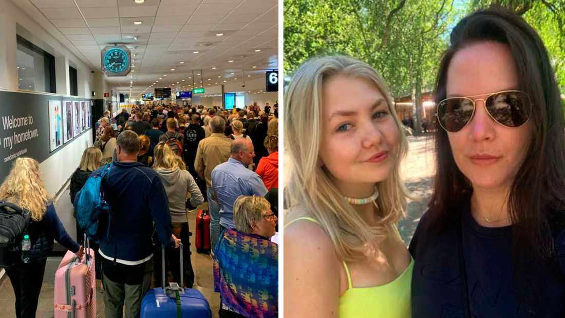 Madeleine Svedelius landade med dottern Cornelia på Arlanda, där det blev trångt i bagagehallen.