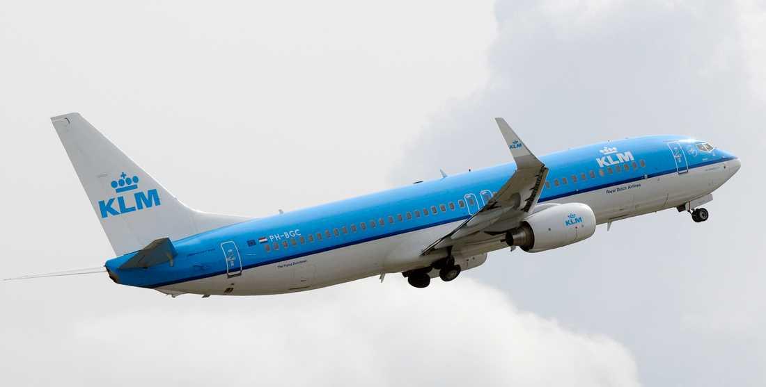 Ett plan tillhörande det nederländska flygbolaget KLM. Arkivbild.