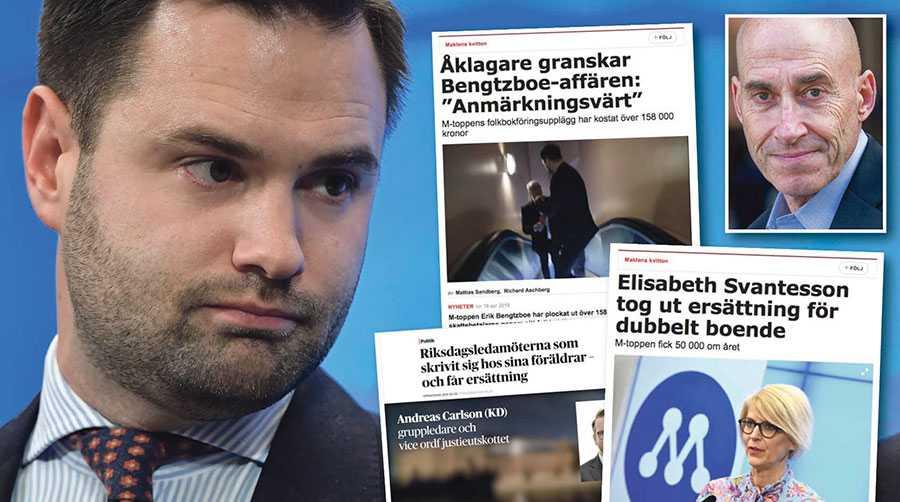 Allt tyder på att den senaste tidens skandaler ökar politikerföraktet, vilket blir ett hot mot demokratin, skriver Olle Wästberg. Till vänster moderaten Erik Bengtzboe som lämnade sina uppdrag i riksdagen efter Aftonbladets granskning.