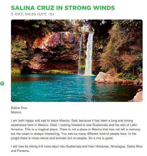 Bluffbild  På superäventyraren Johan Ernst Nilsons blogg skriver han att det är tråkigt att lämna Mexiko – illustrerat med den här bilden.