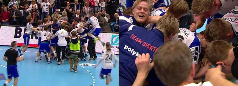 Stort jubel i Ystad när semifinalplatsen säkrades.