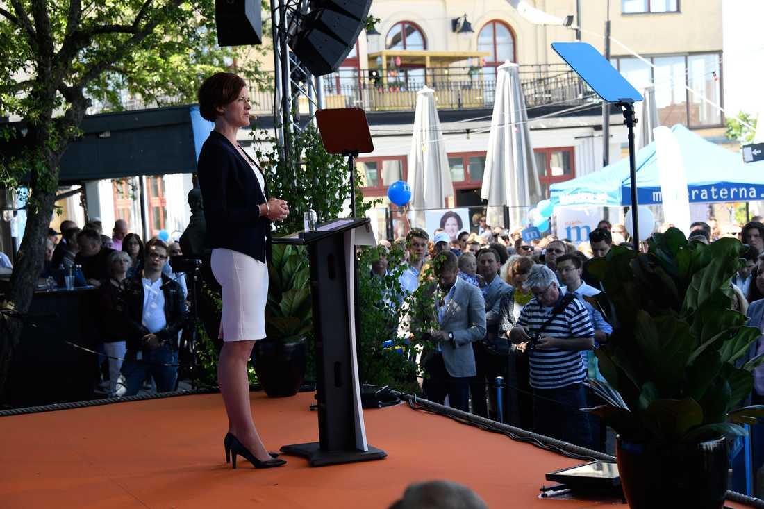 Moderaternas partiledare Anna Kinberg-Batra höll sitt årliga sommartal på Mosebacke i Stockholm.