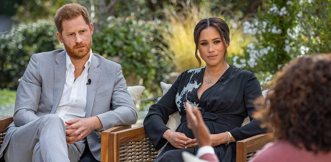 Hertigparet av Sussex, Harry och Meghan, i intervjun med Oprah Winfrey.