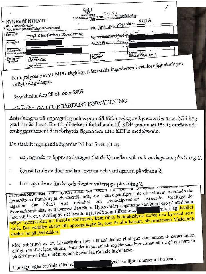 Här är dokumenten som visar på oenigheten mellan hyresgästen av Villa Parkudden och Kungliga Djurgårdens Förvaltning. Klicka på bilden för en strörre version.