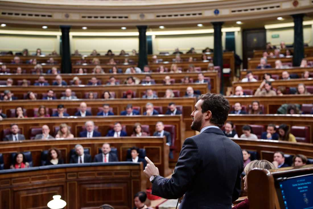 Partiledaren för konservativa Partido Popular, Pablo Casado, tog under onsdagen avstånd från högerextrema Vox. Arkivbild.