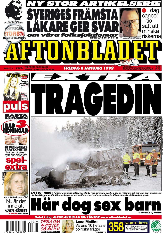 Aftonbladets förstasida den 8 januari 1999.