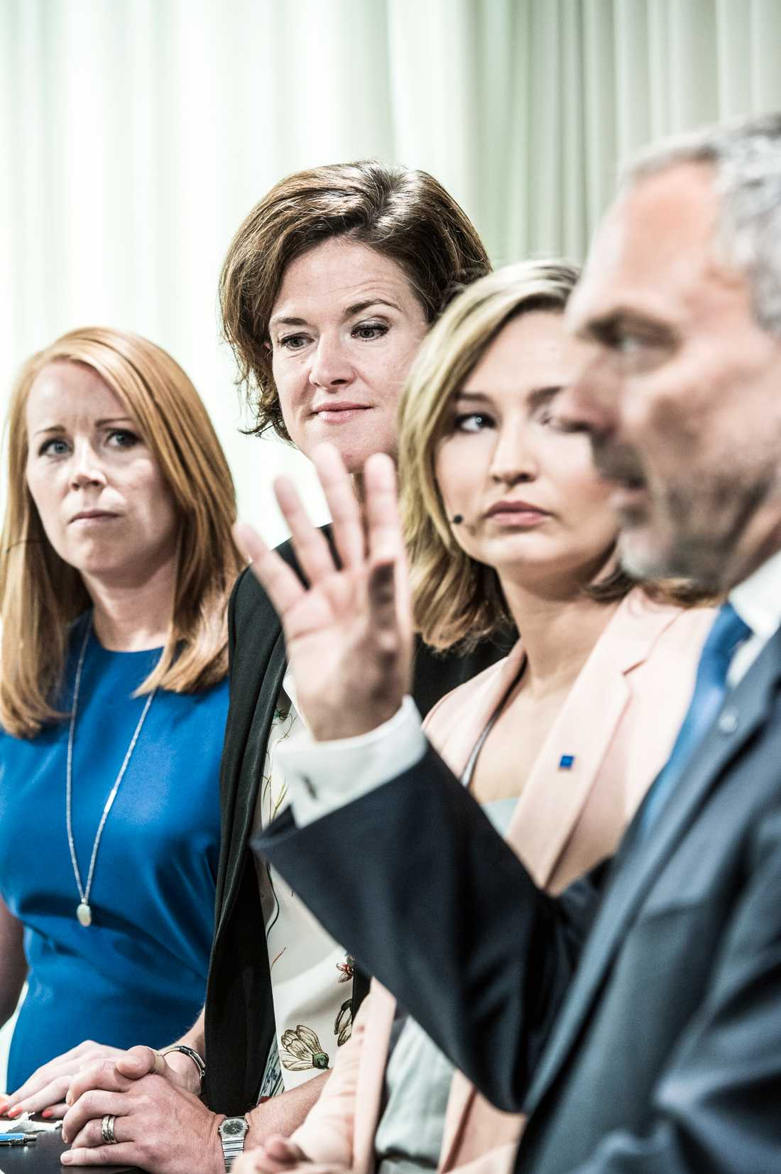 Alliansledarena Annie Lööf (C), avgående M-ledaren Anna Kinberg Batra, Ebba Busch Thor (KD) och Jan Björklund (L).