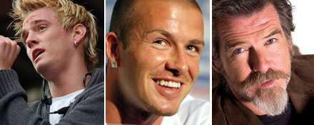 Aaron Carter har slätrakat. David Beckham har valt stubb och Pierce Brosnan kör på helskägg.