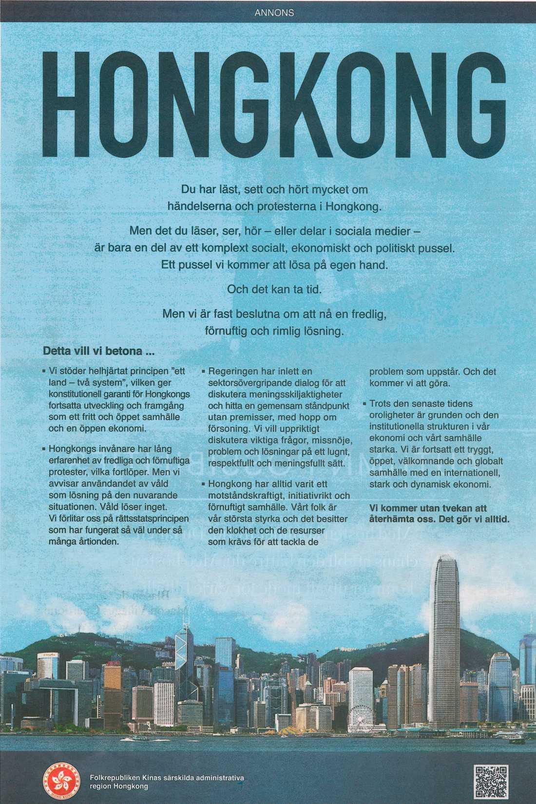 En kinesisk annons dök upp i fredagens upplaga av DN och skapade rubriker.