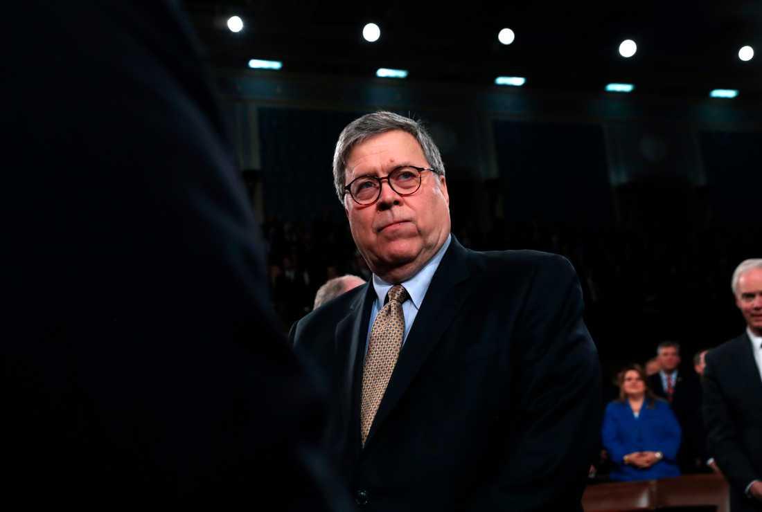 Justitieminister William Barr säger att han inte vill se Trump lägga sig i rättsprocesser på ett liknande sett igen. Arkivbild.