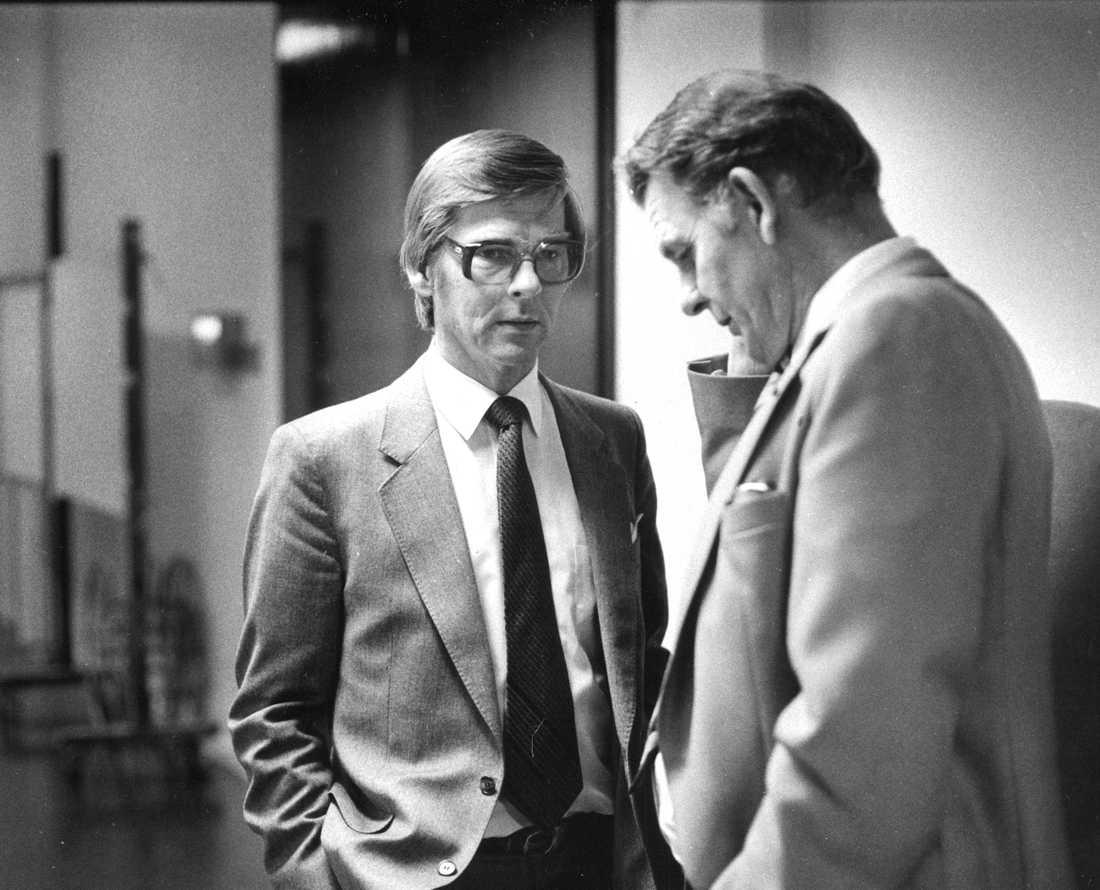 Ola ullsten (fp) och Thorbjörn Fälldin (c ) riksdagsvalen 1982.