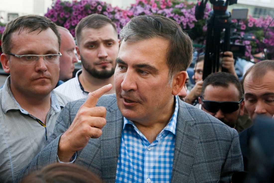 Georgiens expresident Micheil Saakasjvili för ett år sedan när han återvände till Ukraina. Arkivbild.