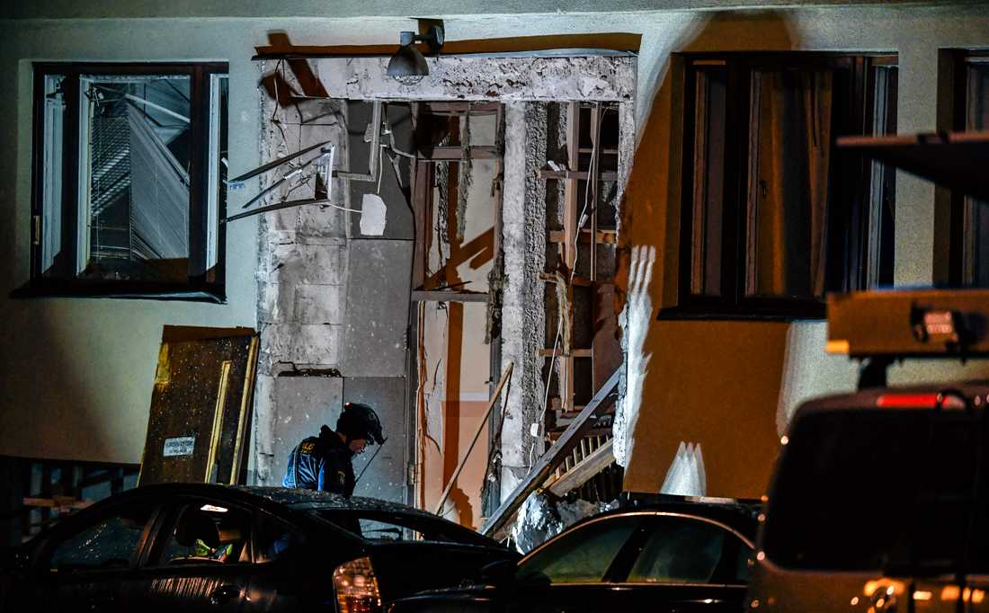 Huset fick omfattande skador i explosionen.
