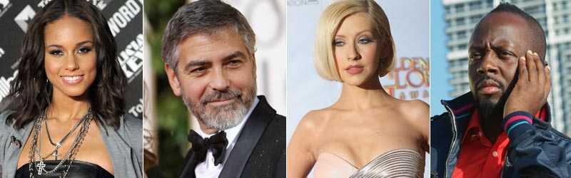 Engagerade för Haiti Alicia Keys, George Clooney, Christina Aguilera och Wyclef Jean.