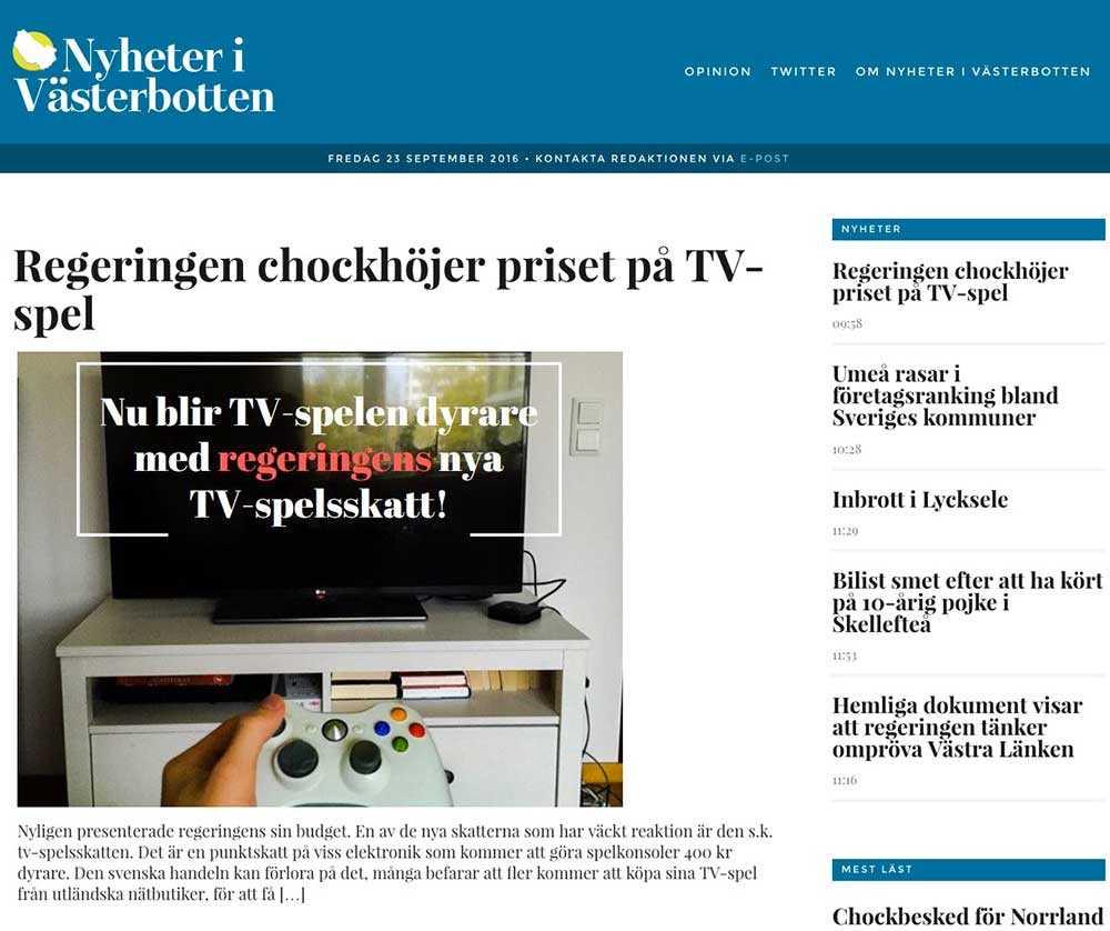Moderaterna i Västerbottens nystartade sajt 'Nyheter i Västerbotten'.