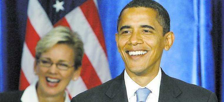 Jennifer Granholm tillsammans med Barack Obama.