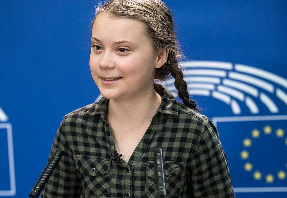 Greta Thunberg talade i Europaparlamentet i april.