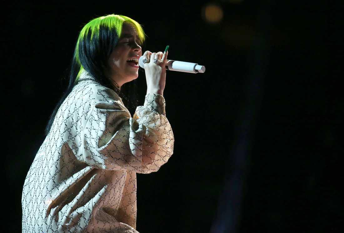 Billie Eilish på Grammy Awards i januari i år.