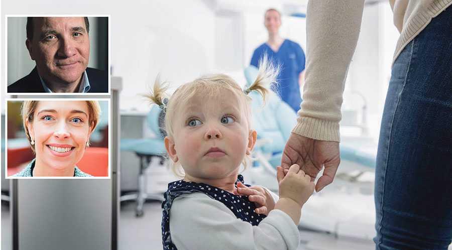Stefan Löfven, Annika Strandhäll och 21 regionala S-företrädare presenterar i dag ytterligare satsningar för en tryggare vård. Bilden från vårdcentralen är en genrebild.