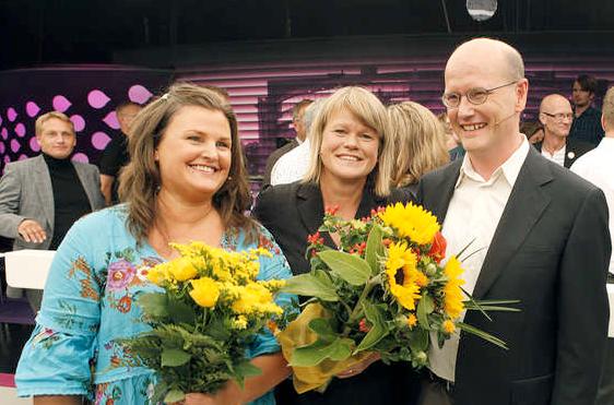 Ulla Andersson (V), Mikaela Valtersson (MP) och Thomas Östros (S), höll i presskonferensen. Bilden är tagen vid ekonomidebatten inför valet.