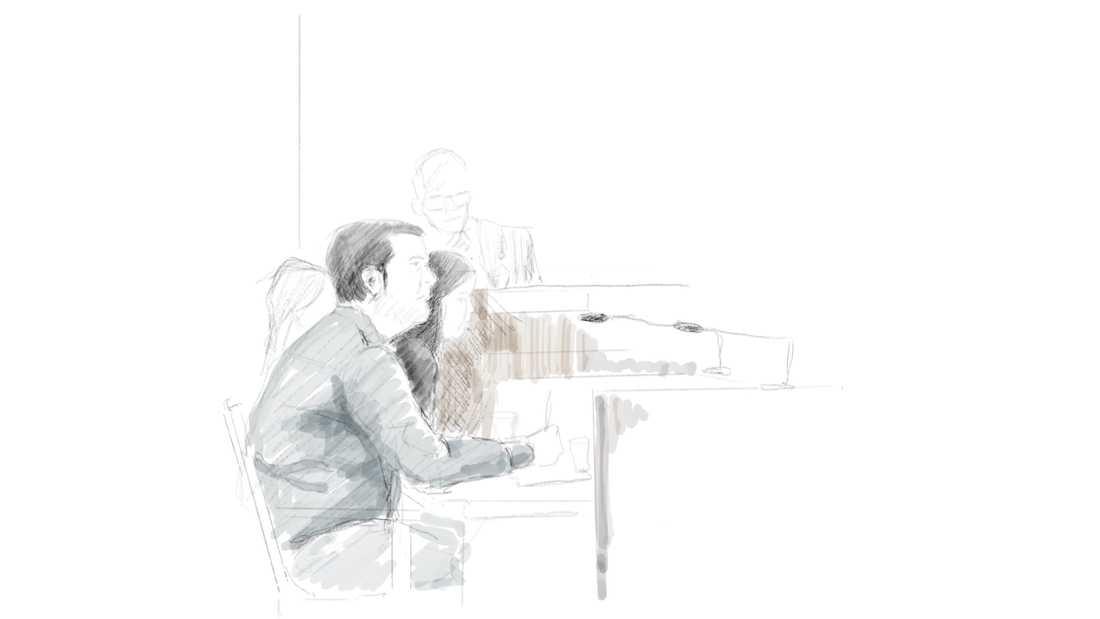 Illustration från tingsrättsförhandlingarna mot läkaren.