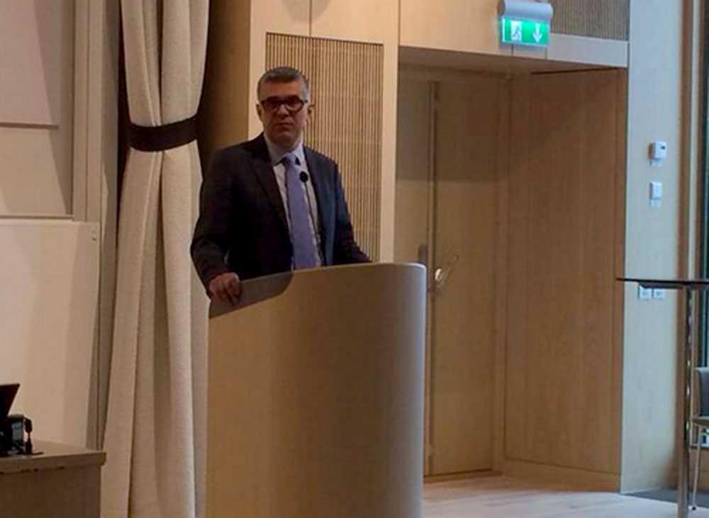 Säpo-chefen Anders Thornberg på pressträffen.