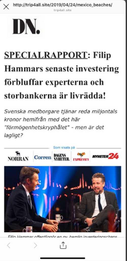 Filip Hammar figurerar i reklamkampanjer på sociala medier.