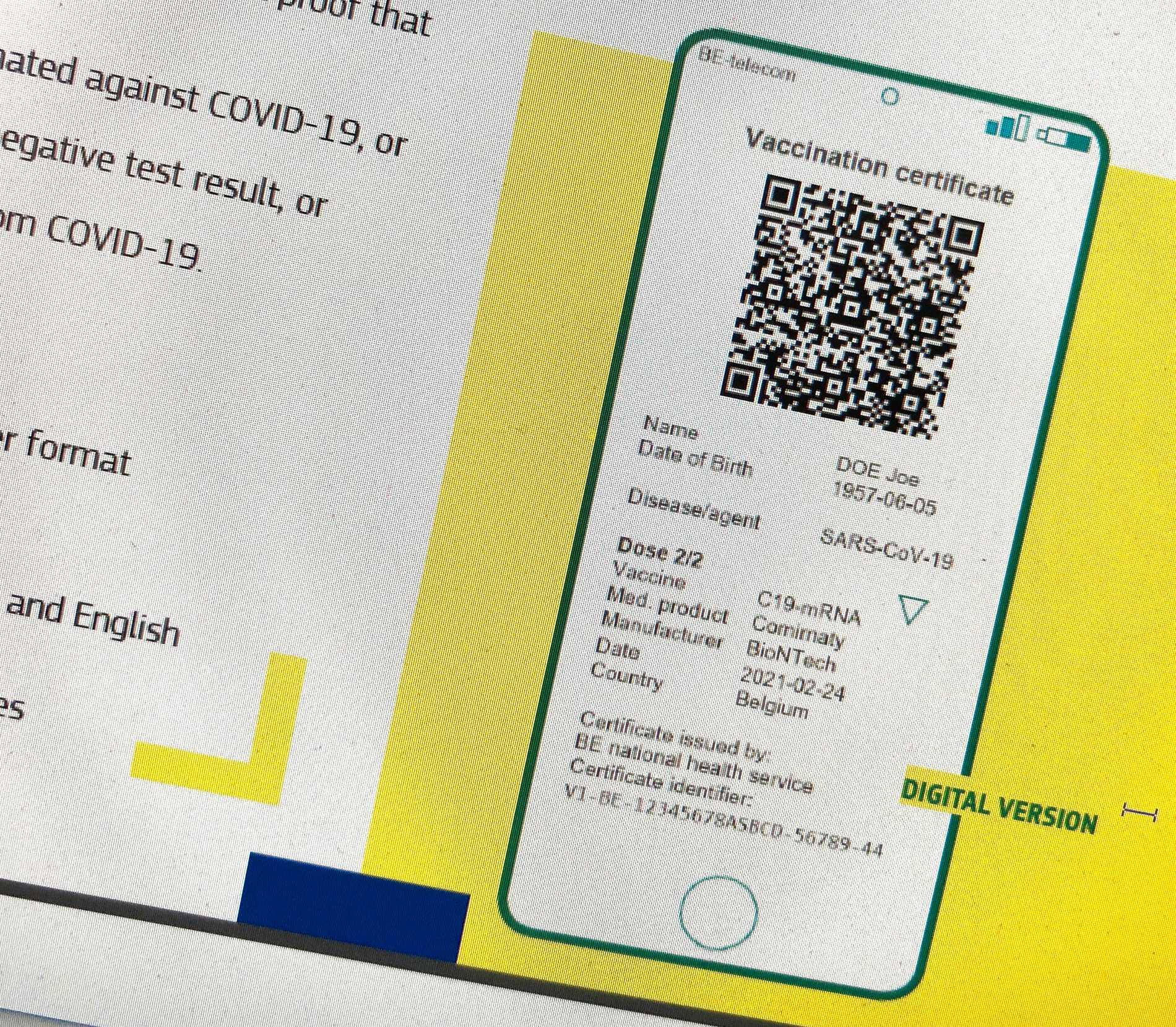 """Så här tänker sig EU-kommissionen att deras """"gröna digitala certifikat"""" kan se ut."""
