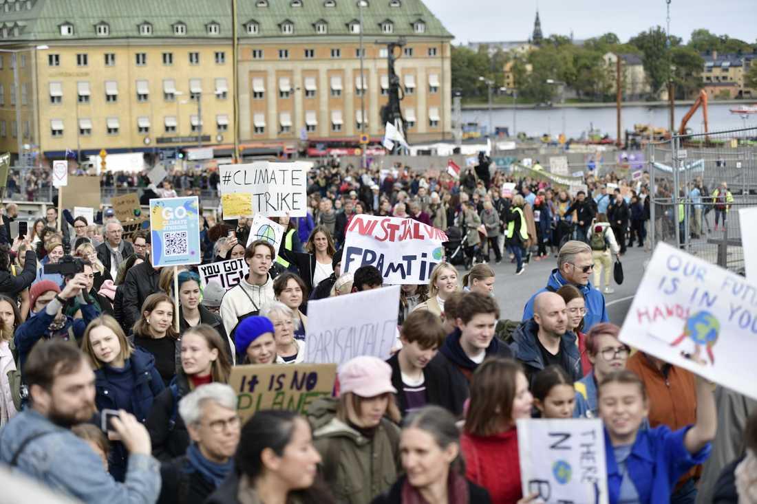 Skolstrejk på Mynttorget i Stockholm.