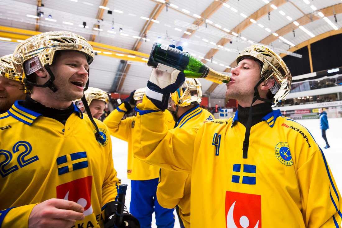 Per Hellmyrs har fem VM-guld och fyra SM-guld på meritlistan. Här firar han fullträffen i Sandviken med Hammarbys David Pizzoni Elfving.