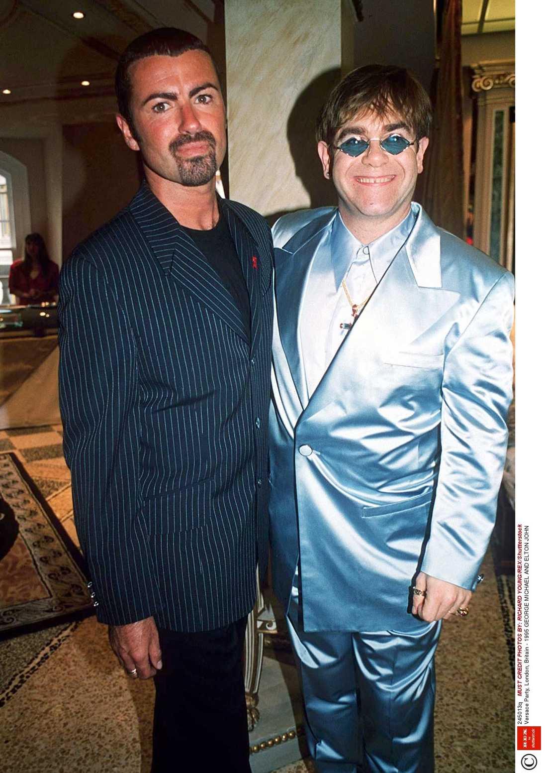 George Michael med sin vän Elton John, som nu är i djup sorg.