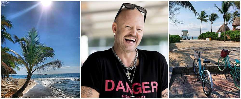 Tv-profilen och stylisten Jonas Hallberg lever flipflop-drömmen i mexikanska Playa del Carmen.