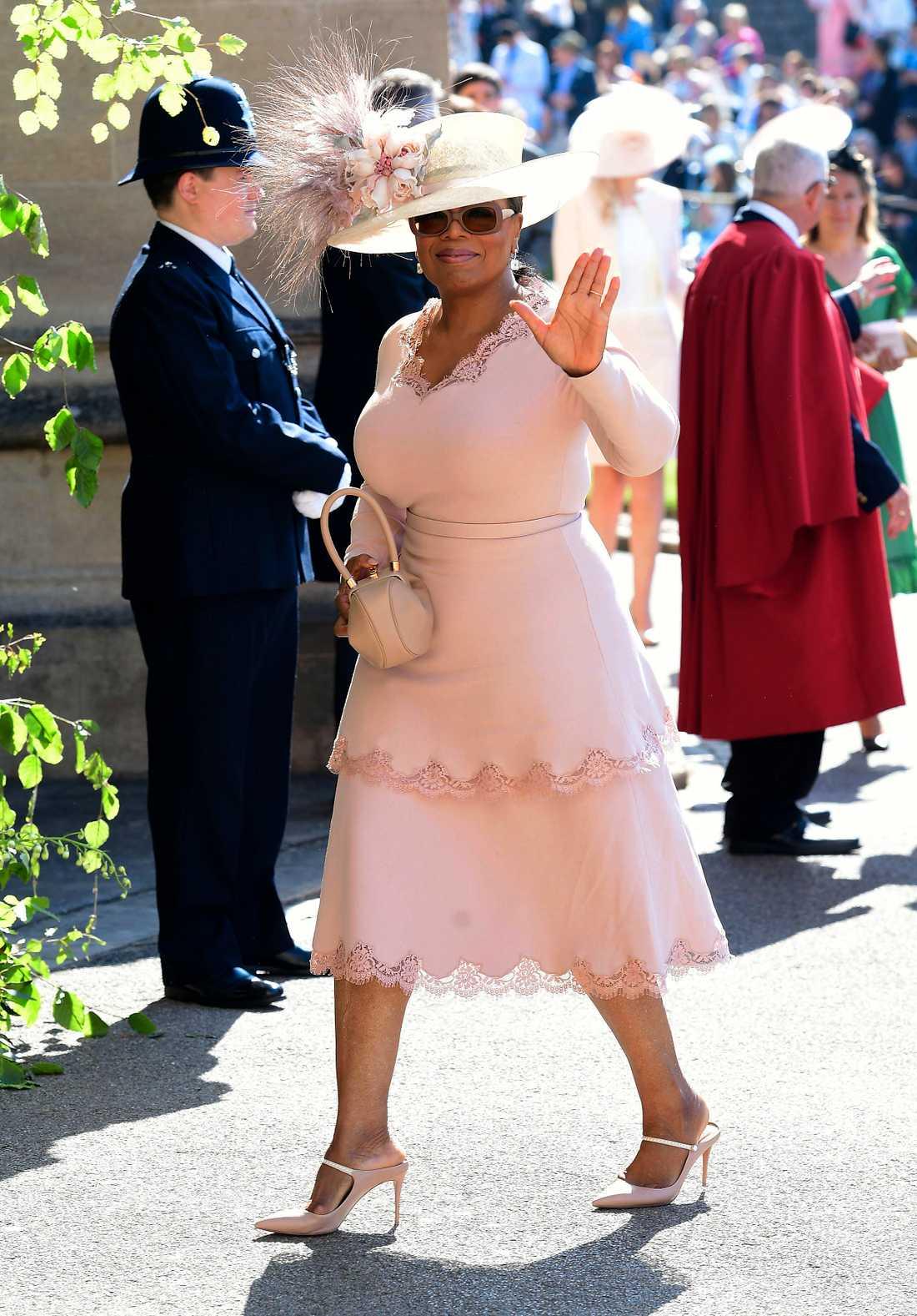 Oprah Winfrey som gäst vid Harry och Meghans bröllop 2018.