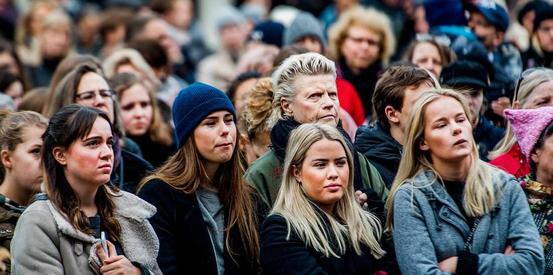 MeToo-manifestation på Sergels torg i Stockholm, oktober 2017.