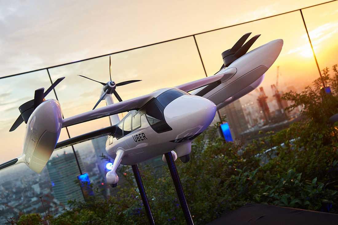 En modell av en flygtaxi.